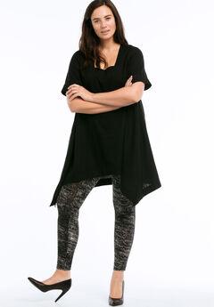 Linen-Blend Hanky Hem Tunic by ellos®, BLACK