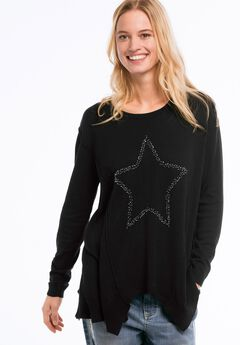 Beaded Applique Hanky Hem Sweater by ellos®, BLACK WITH STAR, hi-res
