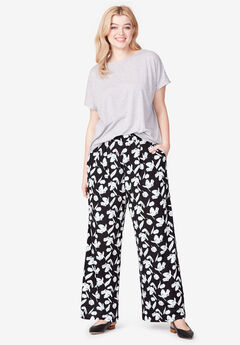 Pleated Wide Leg Knit Pants by ellos®, BLACK WHITE FLORAL