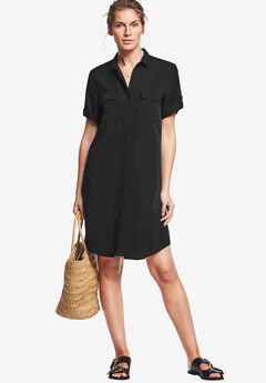 Button Front Linen Shirtdress by ellos®, BLACK