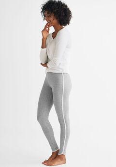 Side Stripe Sleep Legging by ellos®, HEATHER GREY WHITE, hi-res