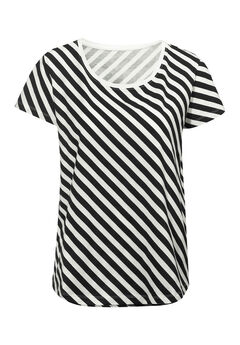 Printed Scoop Neck Tee by ellos®, BLACK IVORY STRIPE, hi-res