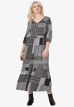 Printed Tiered Maxi Dress by ellos®, BLACK WHITE PATCHWORK PRINT