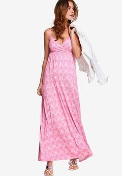 Knit Surplice Maxi Dress by ellos®, RASPBERRY WHITE MEDALLION