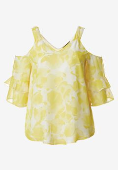 Ruffled Cold-Shoulder Blouse by ellos®,