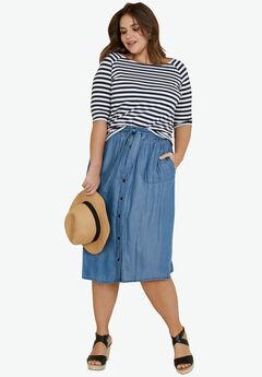 Tencel Button Front Skirt by ellos®, MEDIUM BLUE DENIM, hi-res