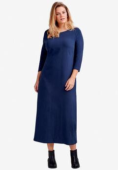 e23e613bbeb26 3 4 Sleeve Knit Maxi Dress by ellos®
