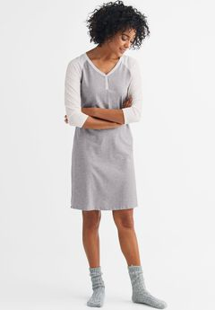 Colorblock Sleepshirt by ellos®, HEATHER GREY WHITE, hi-res
