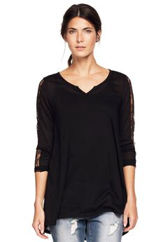 Lace Trim Long Sleeve Tunic by ellos®, BLACK, hi-res