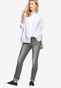 Boyfriend Jeans by ellos®, BLACK DISTRESSED, hi-res