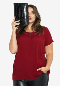 Jewel Embellished A-line Top,