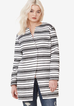 Mari Jacquard Striped Coat by ellos®, WHITE BLACK STRIPE, hi-res