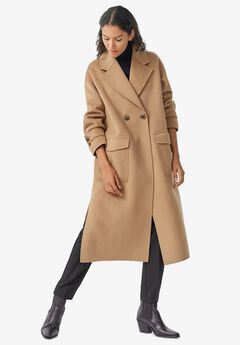 Double-Breasted Wool Blend Coat by ellos®,