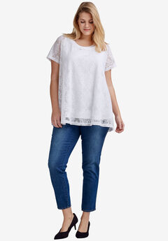 Floral Lace Short Sleeve Tunic by ellos®, WHITE