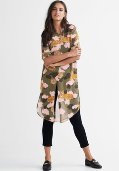 Sheer Button-Front Print Tunic by ellos®,