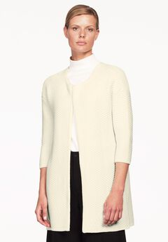 Open Front 3/4 Sleeve Cardigan by ellos®, IVORY, hi-res