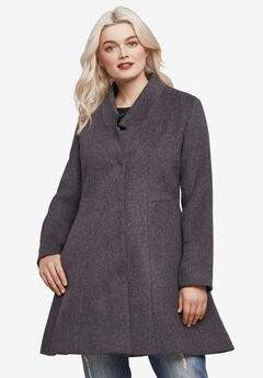 Notch Neck Fit and Flare Coat by ellos®, HEATHER CHARCOAL, hi-res