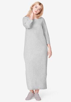 3/4 Sleeve Knit Maxi Dress by ellos®, HEATHER GREY, hi-res