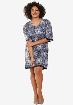 Seville Dress by ellos®, NAVY/WHITE PAISLEY PRINT, hi-res