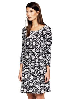 Printed Long Sleeve A-line Dress by ellos®, BLACK GREY PRINT, hi-res