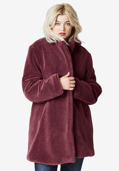 Teddy Faux Fur Coat by ellos®, DEEP WINE