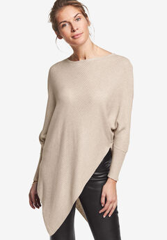 c21de92a719 Lightweight Ribbed Poncho Sweater by ellos®