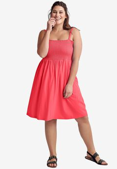 Smocked Bodice Dress by ellos®, CORAL RED, hi-res