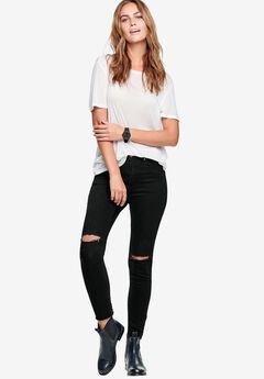 Ripped Knee Skinny Jeans by ellos®, BLACK, hi-res