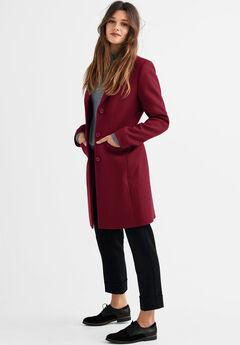 Malin Wool-Blend Coat by ellos®, MAROON RED