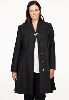 Notch Neck Fit and Flare Coat by ellos®, BLACK