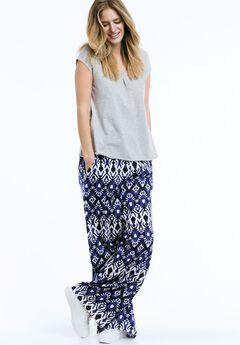 Wide Leg Soft Pants by ellos®, BLUEBERRY BATIK PRINT, hi-res