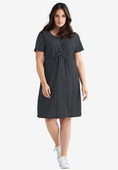 Polka Dot A-line Dress by ellos®, BLACK WHITE DOT, hi-res