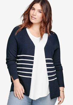 Striped Open Cardigan by ellos®,