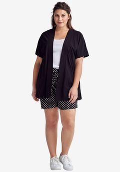 Short Sleeve Open Knit Cardigan by ellos®,
