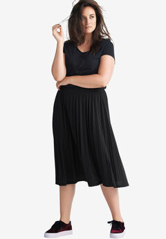 Pleated Knit Skirt by ellos®, BLACK, hi-res