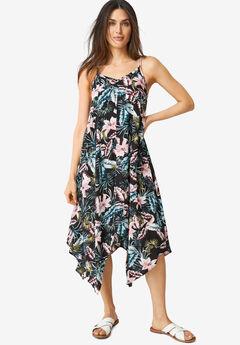 Printed Hanky Hem Dress,