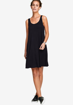 Crossover Back Tank Dress by ellos®, BLACK