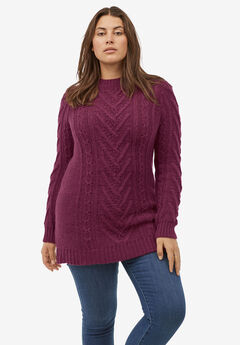 Pullover Cable Sweater Tunic, MIDNIGHT BERRY