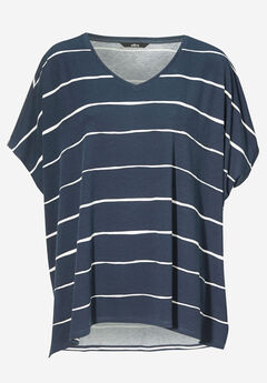 Fluid Knit Oversized Tunic by ellos®, NAVY WHITE STRIPE, hi-res