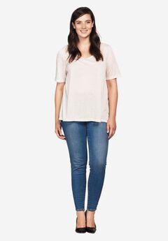 Ankle Zip Skinny Jeans by ellos®, LIGHT STONEWASH, hi-res