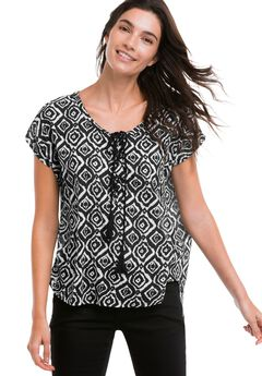 Printed Cap Sleeve Blouse by ellos®, BLACK WHITE PRINT, hi-res