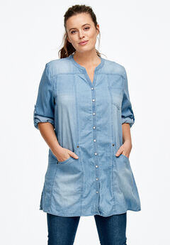 Snap Front Denim Tunic by ellos®, BLEACH, hi-res
