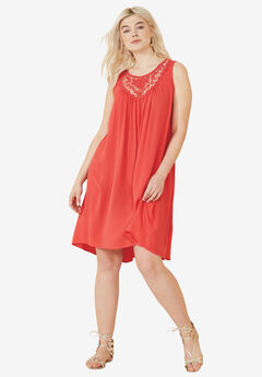 Crochet Inset Trapeze Dress by ellos®, CORAL RED, hi-res