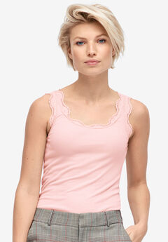 Scallop Lace Trim Tank by ellos®,