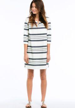 Striped Linen Blend Dress by ellos®, NAVY/WHITE STRIPE, hi-res
