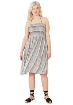 Smocked Halter Tie Dress by ellos®, WHITE BLACK PRINT