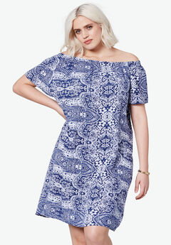 Riviera Woven Dress by ellos®, NAVY/WHITE PAISLEY PRINT, hi-res