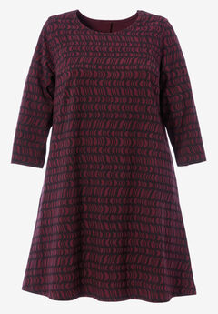 A-line Tee Dress by ellos®, MIDNIGHT BERRY GRAPHIC PRINT