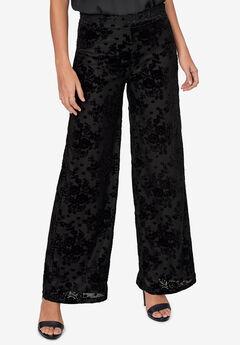 Jacquard Velvet Wide-Leg Pants by ellos®,