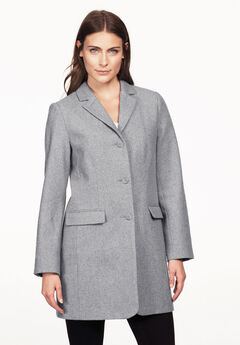 Long Wool Blend Blazer by ellos®, HEATHER GREY, hi-res